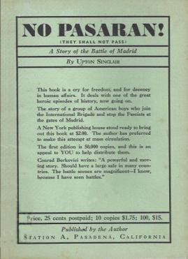 No pasarán. Una historia de la batalla de Madrid - novela de Sinclair Upton - año 1937 - formato pdf No-pasaran-1ra-edic